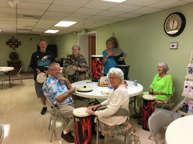 The Thanks Mom & Dad Fund distributes grants annually across Georgia to support innovative programs and initiatives benefitting older Georgians. Pictured here are seniors in the Albany area trying out a drumming program.