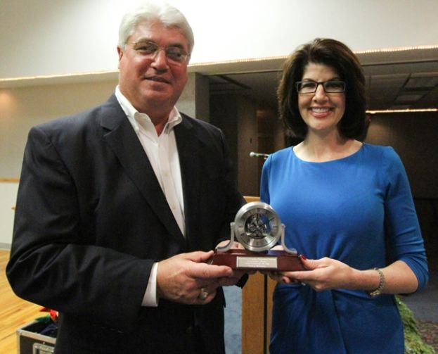 Pictured is Ed Loomis with Colony Bankcorp and Wiregrass President Dr. Tina K. Anderson.