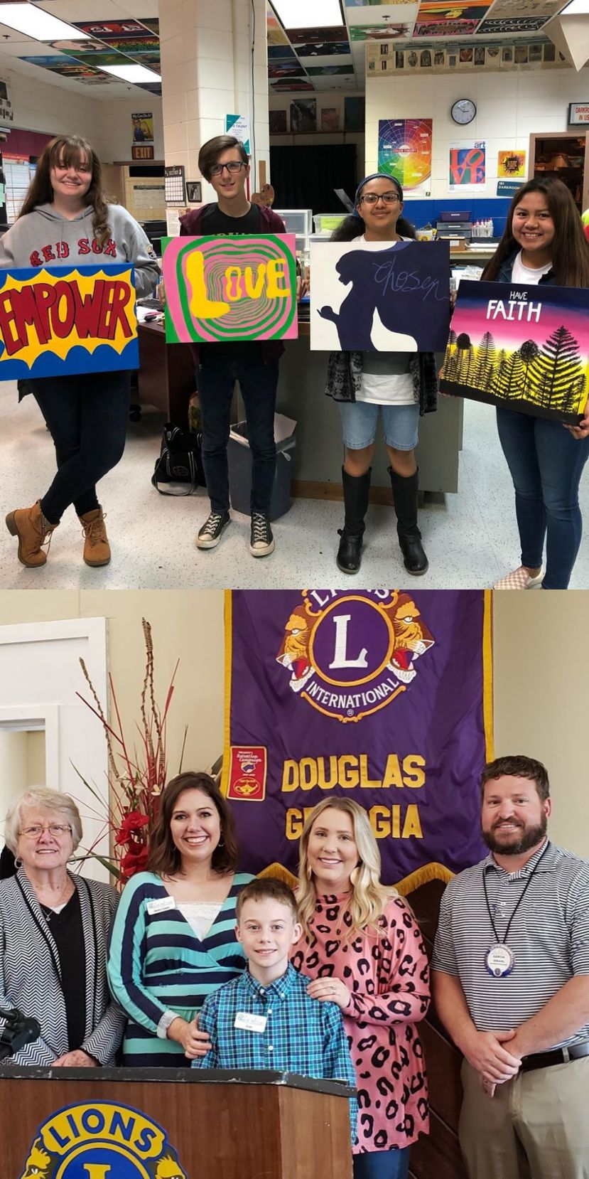 Top photo: CHS art students Daniela Cruz, Brian Harrell, Aurora Martinez, Kimberly Molina. Bottom photo: From left to right: Volunteer Lois Cliett, Volunteer Evan Colson, Intern Hanna Roberts, Lions Club President and Called to Care volunteer, Aaron Shearl.