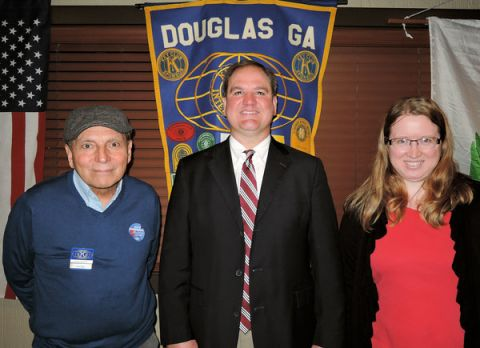 Dr. Morris Leis, superintendent of Coffee County schools, visits with Kiwanis