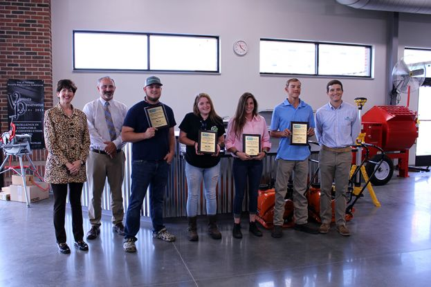 Pictured l-r Wiregrass President Dr. Tina K. Anderson; Wiregrass Dean of Academic Affairs Michael Williams, Wiregrass Industrial Systems student Dillan Gray, Automotive Technology student Megan Wolfe, Welding student Ariel Adams, Welding student Cody Peeples, and Whitehead Industrial Hardware Principal Johnathon Miller.  Not pictured is Mark Musslewhite.