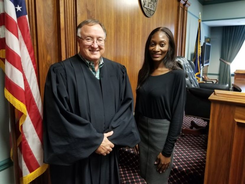 From left: Superior Court Judge Dwayne Gillis and Jasmine Kelley, the Waycross Judicial Circuit's newest assistant district attorney