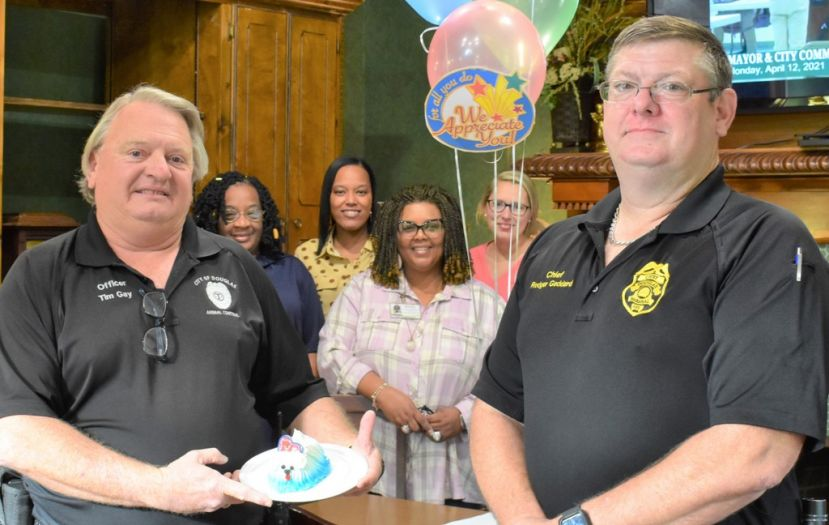 (Front L-R) Tim Gay (Animal Control Officer), Rodger Goddard (City Marshal)  (Back L-R) Yvette Tomlin (Code Enforcement), Jercandiya McCoggle (Administrative Assistant), Georgia Henderson (Community Dev. Director) and Christian Mikell (Grants Administrator)